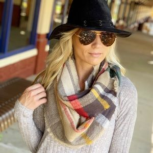 khaki-gray-mustard infinity scarf